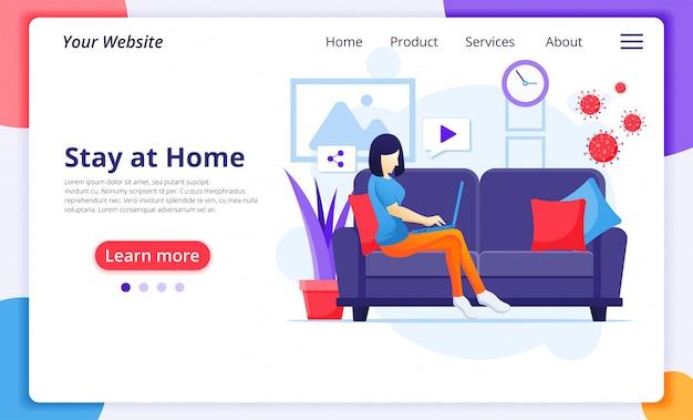 Concept de travail à domicile, awoman assis sur un canapé, restez à la maison en quarantaine pendant l'épidémie de coronavirus. modèle de conception de page de destination de site web