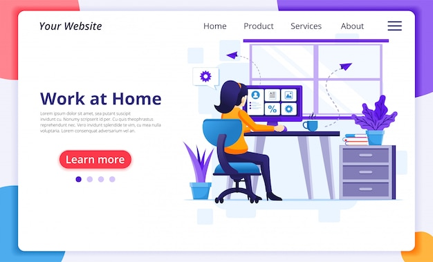 Concept de travail à domicile, une femme travaille sur ordinateur, reste à la maison en quarantaine pendant l'épidémie de coronavirus. modèle de conception de page de destination de site web