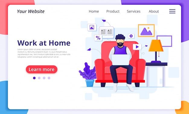 Concept de travail à domicile, un homme travaille sur un ordinateur portable et assis sur un canapé, reste à la maison, quarantaine pendant l'épidémie de coronavirus. modèle de conception de page de destination de site web