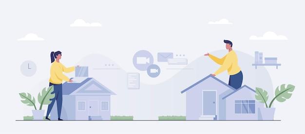 Concept de travail à domicile, petite personne plate. pigistes homme et femme travaillant sur ordinateur portable. illustrateur de vecteur