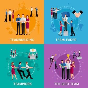 Concept de travail d'équipe 2x2