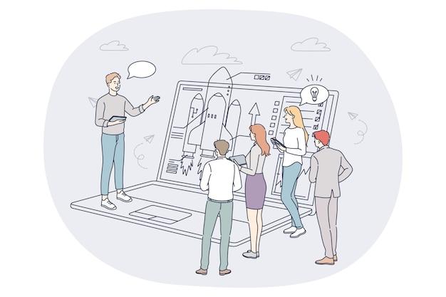 Concept de travail d'équipe d'analyse de données marketing finance