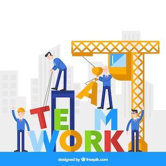 Concept de travail en équipe coloré avec grue
