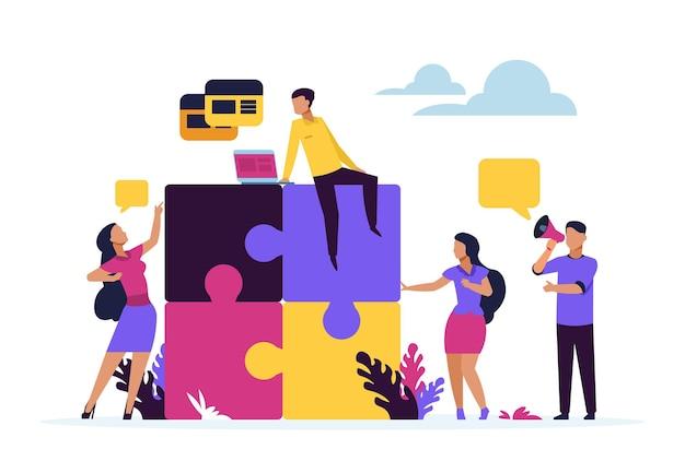 Concept de travail d'équipe commercial. éléments de puzzle avec des gens d'affaires de dessin animé, métaphore du partenariat et de la collaboration