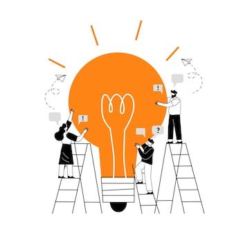 Le concept de travail d'équipe conjoint constituant une équipe commerciale travailler ensemble sur une idée