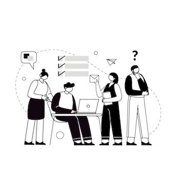 Le concept de travail d'équipe conjoint créant une équipe commerciale partenariat commercial de coopération