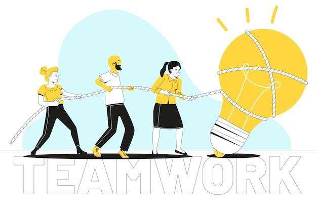 Concept de travail d'équipe design plat dessiné à la main