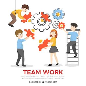 Concept de travail d'équipe avec un design plat