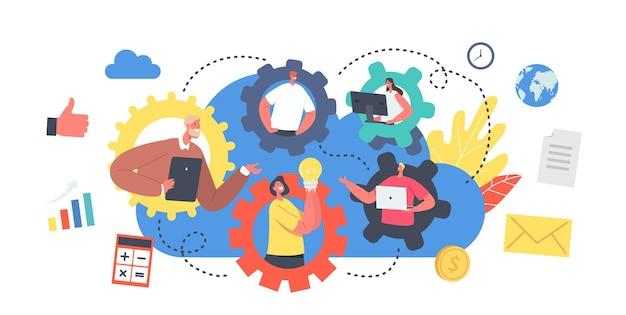 Concept de travail en équipe à distance. conférence de groupe de webcam des travailleurs avec des collègues. des personnages commerciaux, des employés de bureau parlent lors d'un appel vidéo avec des collègues en ligne. illustration vectorielle de gens de dessin animé
