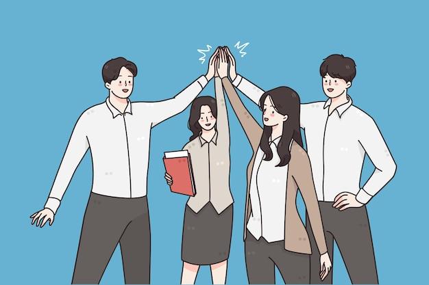Concept de travail d'équipe d'équipe commerciale réussie