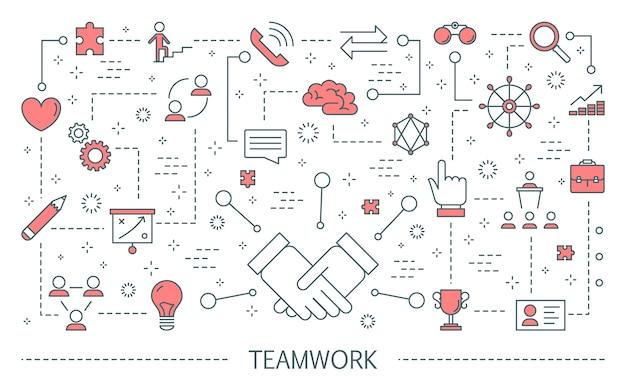 Concept de travail d'équipe. idée de gens d'affaires travaillant ensemble et évoluant vers le succès. partenariat et collaboration. plat