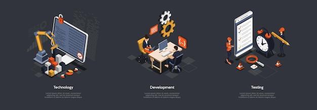 Concept de travail d'équipe, de partenariat et de réalisation des objectifs. illustration.