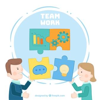 Concept de travail d'équipe avec des pièces de puzzle