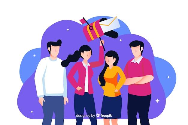 Concept de travail d'équipe pour la page de destination
