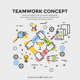 Concept sur le travail d'équipe, style linéaire