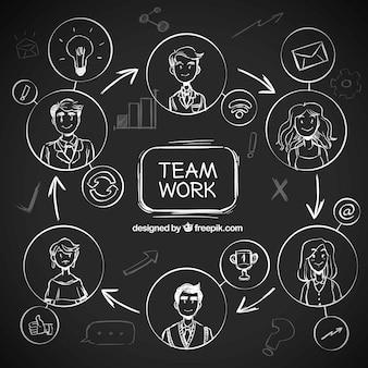 Concept de travail d'équipe sur tableau noir