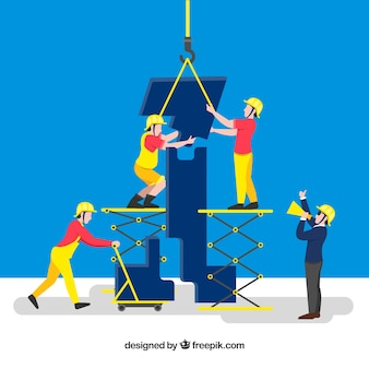 Concept de travail d'équipe avec les travailleurs de la construction