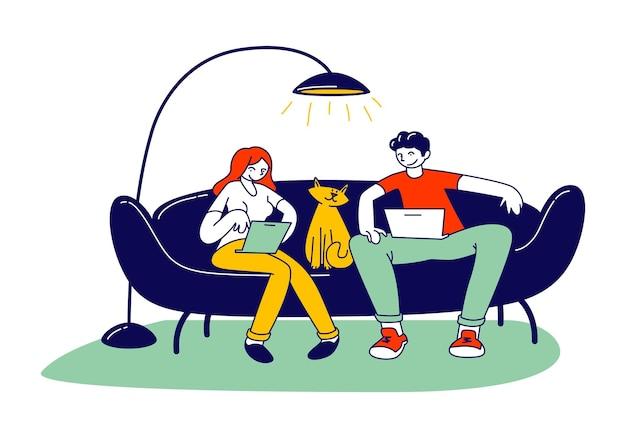 Concept de travail indépendant indépendant. illustration plate de dessin animé