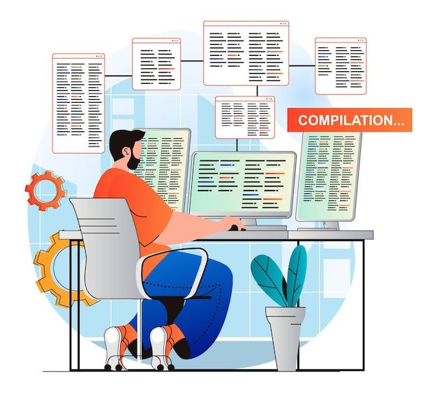 Concept de travail de programmation dans un design plat moderne le développeur fait la compilation du programme