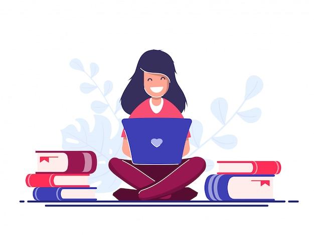 Concept de travailleur indépendant. travaillez en voyage. jeune fille avec un ordinateur portable fonctionne.
