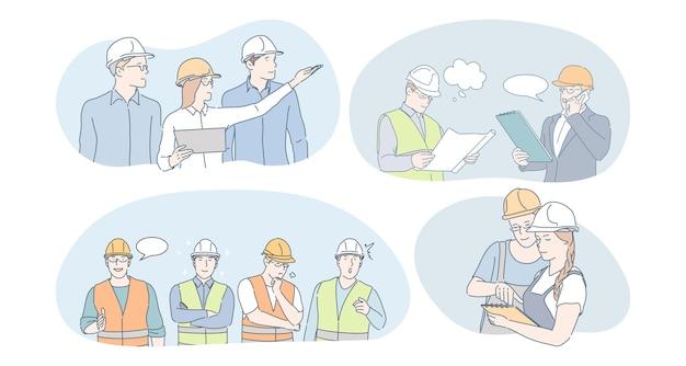 Concept de travailleurs d'ingénierie et de construction. ingénieurs, constructeurs et managers en protection