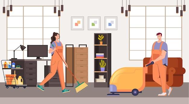 Concept de travailleurs de service de nettoyage de bureau