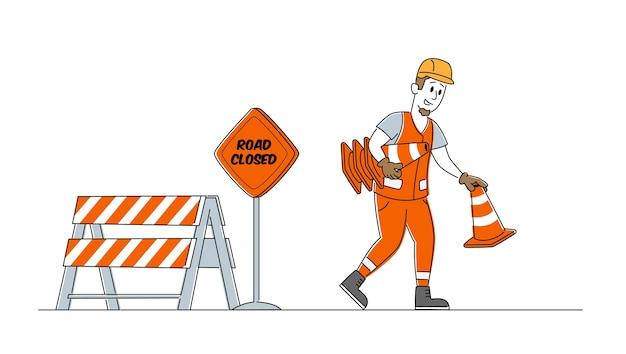 Concept de travaux routiers et de revêtement d'asphalte