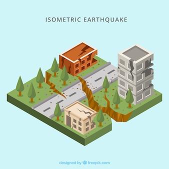 Concept de tremblement de terre isométrique