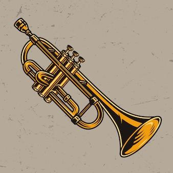 Concept de trompette en laiton coloré