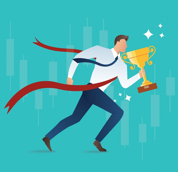 Concept de trophée holding homme d'affaires pour le succès