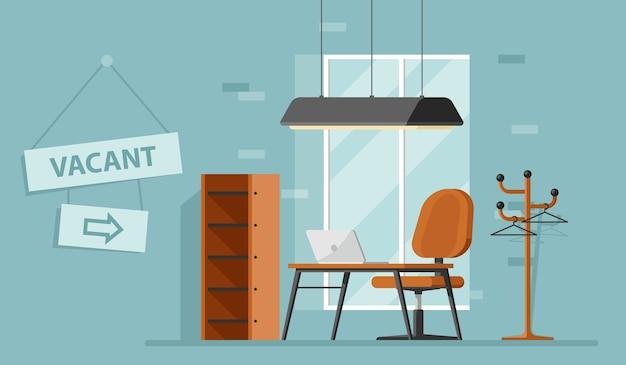 Concept de trouver un travailleur et de recrutement, bannière de l'offre d'emploi avec lieu de travail