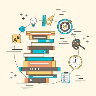 Concept de tutoriel : une pile de livres et d'éléments éducatifs dans le style de ligne