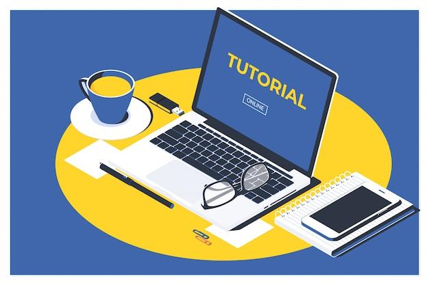 Concept de tutoriel vidéo en ligne