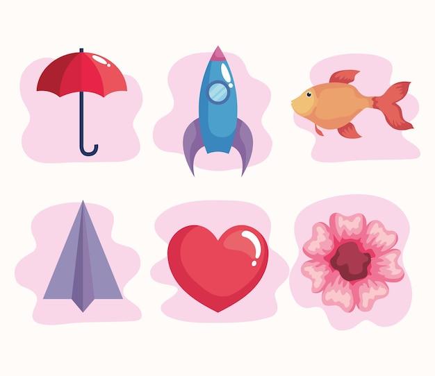 Concept unique six icônes