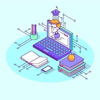 Concept universitaire isométrique avec des éléments de l'école