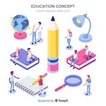 Concept universitaire isométrique avec des éléments d'éducation
