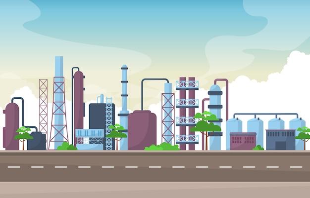 Concept d'usine industrielle fabrication bâtiment installations zone paysage illustration plate