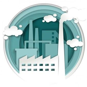 Concept d'usine d'usine industrielle dans un style art papier