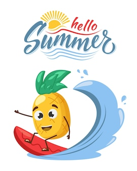 Concept de vacances avec caractère ananas surf. et bonjour signe d'été