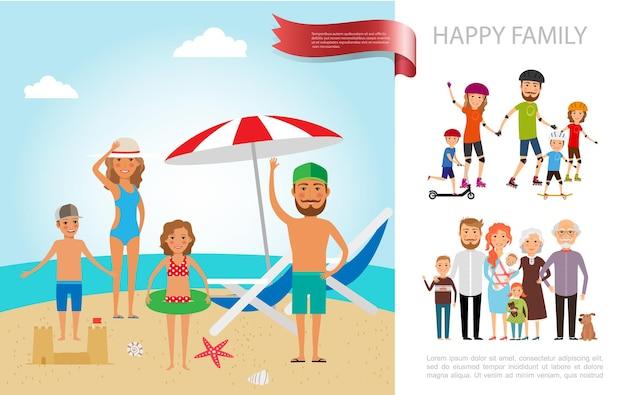 Concept de vacances d'été en famille plat avec mère père fils et fille se reposer à l'illustration de la plage,