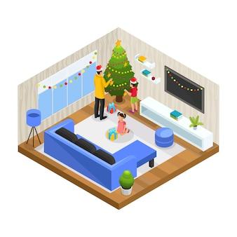 Concept de vacances en famille hiver isométrique avec père et enfants décorent l'arbre de noël à la maison isolée