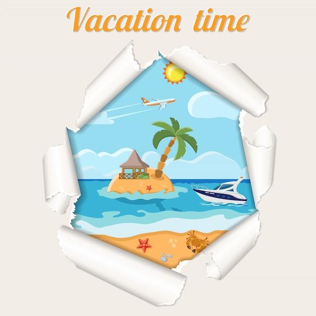 Concept de vacances île à travers un trou déchiré dans le papier