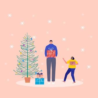 Concept de vacances avec personnages et cadeau de noël. jeune garçon et fille, enfants et membres de la famille décorent des boîtes de noël. cadeaux sous le sapin et les flocons de neige, collection vectorielle
