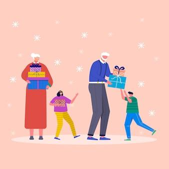 Concept de vacances avec personnages et cadeau de noël. les parents adultes, les enfants et les membres de la famille décorent les boîtes de noël. cadeaux sous le sapin et les flocons de neige, collection vectorielle