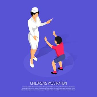 Concept de vaccination isométrique avec femme médecin et enfant patient