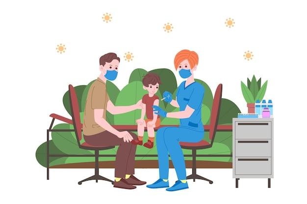 Concept de vaccination pour la santé immunitaire. vaccin anti-covid-19. les médecins font une injection de vaccin antivirus aux enfants et invitent ensuite. santé infantile, coronavirus, prévention et vaccination