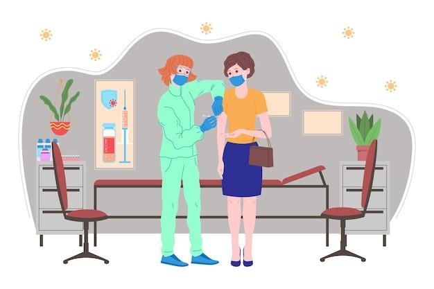 Concept de vaccination pour la santé immunitaire. vaccin anti-covid-19. les médecins font une injection de vaccin contre la grippe au patient hospitalisé et l'invitent ensuite. santé, coronavirus, prévention et immunisation
