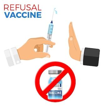 Concept de vaccination de refus avec arrêt de signe, vaccin à seringue et flacon dans une icône de style plat, vaccination d'arrêt de concept, injection. le médecin tient une seringue avec un vaccin à la main. illustration vectorielle isolée