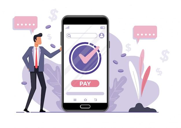 Concept de vecteur d'achat en ligne. homme d'affaires se dresse sur le fond d'un téléphone mobile avec une boutique en ligne ouverte