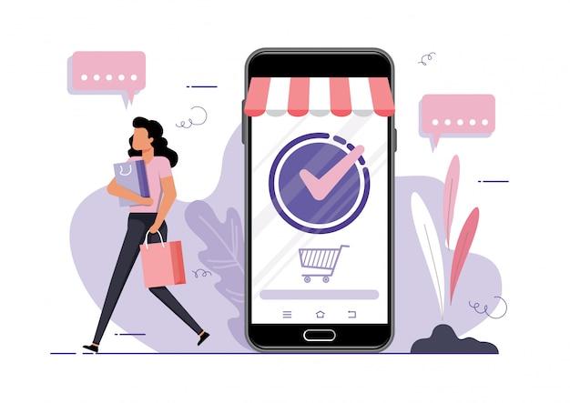 Concept de vecteur d'achat en ligne. jeune fille avec des sacs s'éloignant sur le fond d'un téléphone mobile avec une boutique en ligne ouverte
